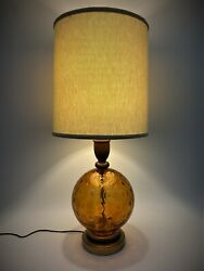 Vintage Amber Glass Table Lamp Mid Century Modern Retro Hollywood Regency Wood