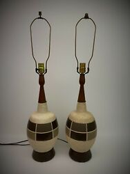 Pair Vintage Ceramic Table Lamps Mid Century Modern Retro Ceramic Brown Wood