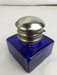 Superb antique glass metal inkwell $32.13