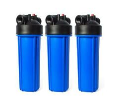2.5x10quot; Blue Whole House Filter Housing 3 4 NPT with Pressure Release 3 Pack $30.00