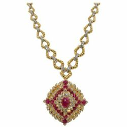 14K YELLOW GOLD NATURAL FULL CUT DIAMOND RUBY ENGAGEMENT WEDDING PENDANT CHAIN