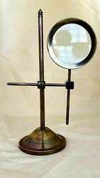 Antique Brass Magnifier Maritime Adjustable stand Magnifying Glass Desk Top Gift $38.00