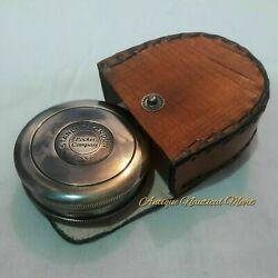 Antique Nautical Brass Stanley London 1885 Compass With Leather Box Gift Item $25.99