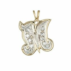 Letter M Initial Pendant Vintage Charm 14k Two Tone Gold Estate Fine Jewelry $485.00