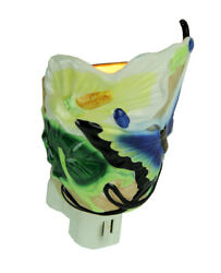 Blue Butterfly and Calla Lily Porcelain Plug In Night Light