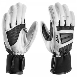 $150 Leki Womens Griffin Leather Trigger Ski Gloves Winter Ladies White Black XS $39.00