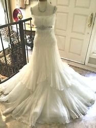 Pronovias NEW $4000 wedding dress bridal gown Ivory GARZA US10 UK12 Manuel Mota
