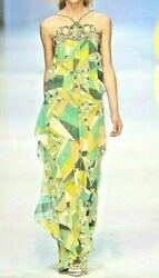 $6420 Emilio Pucci 2010 Runway Chain Long Maxi Gown Sun Dress US 8 10  IT 44
