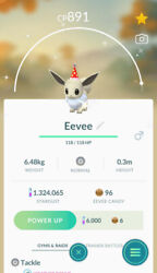Shiny Eevee wearing Party red hat Pokemon TRADE For REGISTERED Shiny already $14.50