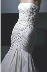 "Enzoani ""Carmen""NEW Wedding Dress Bridal Gown Fit and Flare champagne taffeta 12"