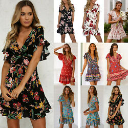 Women Boho Floral Short Sleeve V Neck Mini Dress Summer Holiday Wrap Sundress $9.87