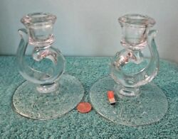 Vintage FOSTORIA Clear Glass Crystal Candle Holders Pair Century Pattern $12.63