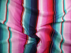 Bullet Printed Liverpool Textured Fabric Stretch Serape Stripe Pink Teal T106 $8.99