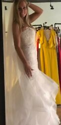 Oleg Cassini Wedding Dress Gown Size 4 petite NWT mermaid ruffles Ivory