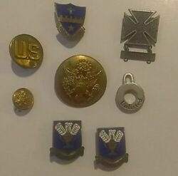 Lot of World War II US Army Pins From Veteran Iron Cross Missile Sustineo Alas $79.95