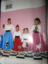 Vintage Butterick SEWING Pattern 4113 Girls Poodle Skirt Halloween Costume UNCUT $4.89