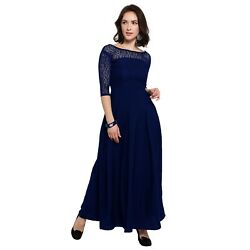 Crepe A Line Party Wear Long Dress For Woman Blue 3 4 Sleeves Round Neck $31.00