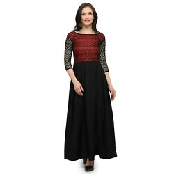 3 4 Sleeves Round Neck Crepe A Line Party Wear Long Dress Black For Woman $31.00