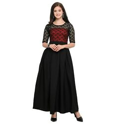 Party Wear Long Dress Black 3 4 Sleeves Round Neck Crepe A Line For Woman $31.00