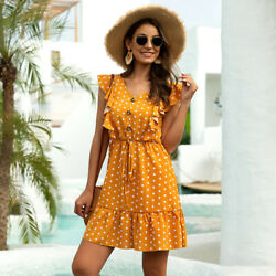 Women's Summer Boho Polka Dot Ruffle Sleeve Button Trim V Neck Swing Mini Dress $20.99