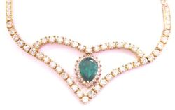 Colombian Green Emerald & Diamond Necklace 18Kt Yellow Gold 17