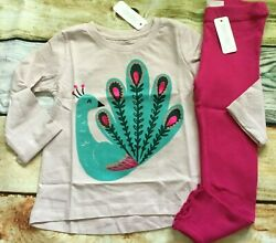 Gymboree Outfit Set 3T 2T Creative Types Peacock Top Rib Knit Leggings NWT $15.99
