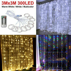 300LED 10ft Curtain Fairy Hanging String Lights Wedding Bedroom Home Decor USA $11.91