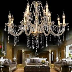 New Elegant Crystal Glass Chandelier Ceiling Lighting Pendant Fixture 6-15 Light