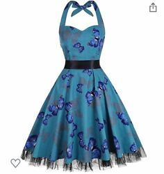 Floral Party Dresses vintage Swing Party Retro Sleeveless halter Dress New $20.77