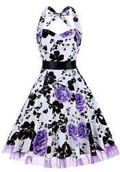 Floral Party Dresses vintage Swing Party Retro Sleeveless halter Dress $20.77