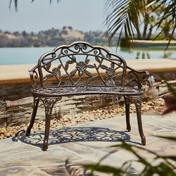 Antique Designed Rose Style Outdoor Patio Park Garden Bench Bronze Love Seat $135.99