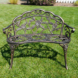 NEW 39quot; inch Antique Style Patio Porch Garden Bench Aluminum Outdoor Chair Rose $119.99