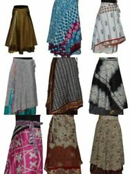 Indian Wrap Around Skirt Wholesale lot of 5 Pcs Printed Reversible Two Layer  $38.99