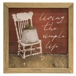 New Primitive Country Rustic LIVING SIMPLE LIFE SIGN Antique Chair Barn Picture $12.99
