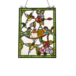 Stained Glass Window Panel Birds Hummingbirds Tiffany Style 18quot; x 25quot; $163.31