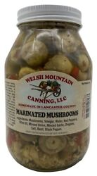 MARINATED MUSHROOMS 100% Natural 16 oz Pint Jars Amish Homemade in Lancaster USA $21.97