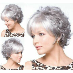 Gray Wigs for Women Short Silver Synthetic Hair Full Wig for White Women Cosplay $18.99