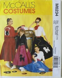 McCalls 6234 Misses Poodle Skirts Jackets Tops Costume Sewing Pattern Sz 4 6 $2.99