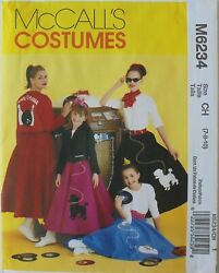 McCalls 6234 Girls Poodle Skirts Jackets Tops Costume Sewing Pattern Sz 7 8 10 $2.99
