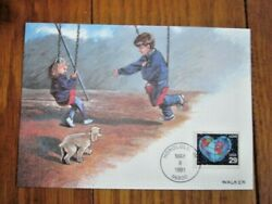 LOVE 1991 YOUNG BOY amp; GIRL ON PLAYGROUND SWING FLEETWOOD FD MAXIMUM CARD $1.95