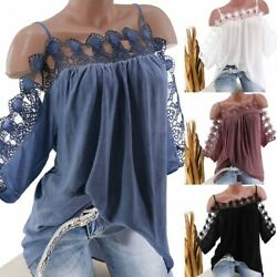 Plus Size Women#x27;s Cold Shoulder T shirt Casual Tunic Summer Tee Shirt Blouse Top $7.99