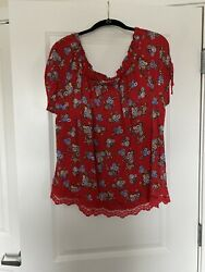 Women's Summer Cotton Rayon Blouse Fits Sz 1X Says 2X Great Fit Wonderful Print $10.00