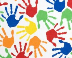 FAT QUARTER FABRIC PAINTED HANDS HAND PRINTS COLORFUL FUN NOVELTY COTTON FQ $2.95