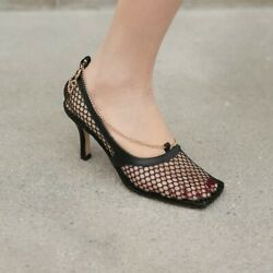 Runway Women Mesh Chain High Heel Classic Shoes Pumps Sandals Breathable jh00