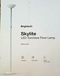 WHITE 5 1 2 FT TALL LED TORCHIERE LAMP W 3 WAY DIMMABLE SWITCH $62.00
