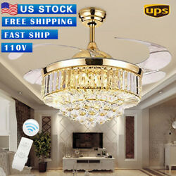 Rose Gold LED Invisable Ceiling Fan Lamp Crystal Lighting Remote Chandeliers 42'