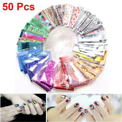 50Pcs DIY Nail Art Transfer Foil Sticker Decal For Nail Tip Decoration Star Set $5.99