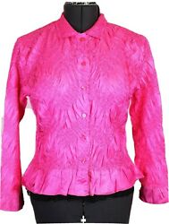 Crinkled Long Sleeve Blouse Hot Pink Black Net Ruffles Women's M She's All That