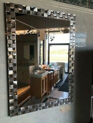 Bathroom Vanity Wall Mirror Steel Mosaic Rectangle Frameless 24X32 LARGE SILVER $169.99