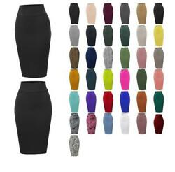 Basic Solid Ponte Knee Length Slit Techno Span High Waist Pencil Skirt $16.79